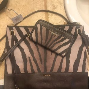 Coach animal pattern bag AND matching wallet NWT